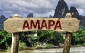 Amapa (Brazilian State) sign with a forest background