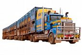 Isolated Australian Road Train On White