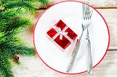 Christmas Background With Gift On Plate