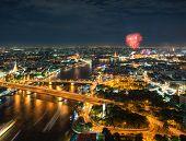 Night Scene Chao Phraya River With Fireworks, Bangkok, Thailand