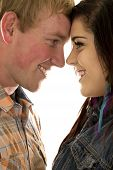 Couple Close with Foreheads Touching