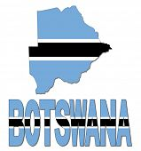 Botswana map flag and text illustration