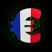 Euro symbol with French flag on hex code illustration