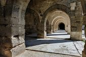 arches and columns in Sultanhani caravansary on Silk Road, Turkey