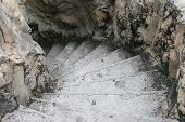 foto of spiral staircase  - image of spiral concrete stone staircase in park - JPG