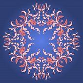 Filigree Damask Background With Vintage Ornament