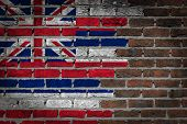 Brick Wall Texture With Flag