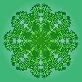 Vector Filigree Pattern On Green