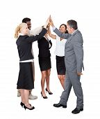 Business People Celebrating With A High-five