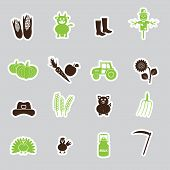 Farm Simple Stickers Vector Set Eps10