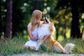 Beautiful girl with blonde hair in a white dress and hugging his red furry dog breed collie poster