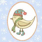 Winter bird in openwork frame snowflake. Bird in clothing . Gift card