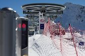 ski lift chairs in the mountains, ski resort