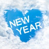 Love New Year Word On Blue Sky