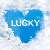 Lucky Word On Blue Sky