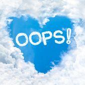 Oops Word On Blue Sky