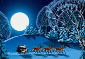 Santa Claus riding on reindeer sleigh through forest in Christmas time