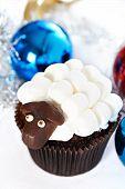 Cupcake And Christmas Balls With Marshmallow