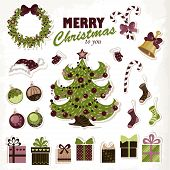 Set Of Christmas Stickers. Vector Illustration For Your Design