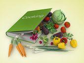 open cookbook. food ingredients