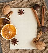 spices and paper background