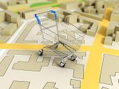 road map with shopping cart 3d rendering image