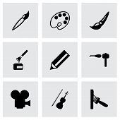 Vector black art tool icon set