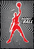 Template basketball poster with player on striped background