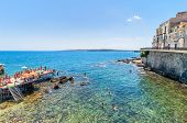 Ortigia And Mediterranean Sea In Syracuse, Sicily, Italy