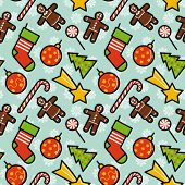 Christmas decorations seamless pattern. Editable vector illustration.