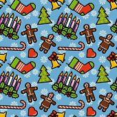 Christmas symbols seamless pattern. Editable vector illustration.