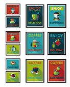 Coffee Poster Flat Banner Design Flat Background Set, Eps10