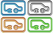Set Electric Car Icon