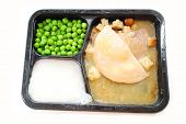 Microwavable Turkey Tv Dinner Over White