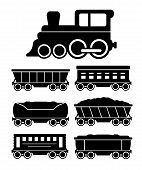 Set Train Cars For Travel Or Cargo Delivery