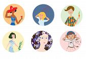 Women icons set with different mood and occupations