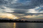 Sunrise at field river