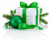 White Box Tied Green Ribbon Bow, Pine Tree Branch And Christmas Ball Isolated On White Background
