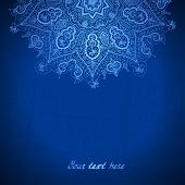 Vector Design Template. White Circle Ornament On Blue Background