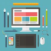 Web and graphic design, tools, tablet, painting objects. Vector concept.