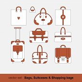 Set of vector images of bags, shopping bags, suitcases isolated