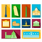 Landmarks of Italy icons set