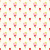 Colorful Flat Style Ice Cream Seamless Vector Pattern