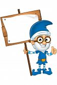image of elf  - A cartoon illustration of a old looking elf character dressed in blue - JPG