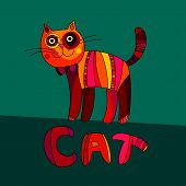 Vector Illustration Of Cute Cat. Vector Cartoon Cat On Green Bac
