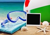 Beach Accessories On A Background Of Sea