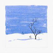 Drawn By Hand Postcard, Tree And Snowfall