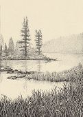 Dotwork Drawing. Morning Mist Over The Lake