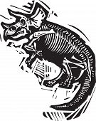 stock photo of dinosaur skeleton  - Woodcut style image of a fossil of a Triceratops dinosaur skeleton - JPG