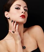Style Sexy Female Model With Manicured Hands With Ring On The Finger And Red Lipstick